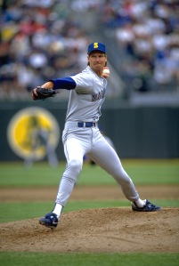 1990:  SEATTLE MARINERS PITCHER RANDY JOHNSON WINDS UP TO PITCH DURING THE MARINERS VERSUS THE OAKLAND A''S GAME AT OAKLAND COUNTY STADIUM IN OAKLAND, CALIFORNIA.